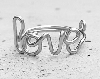 TRUE LOVE - Twist him around your finger. Wire word ring.  925 Sterling Silver.