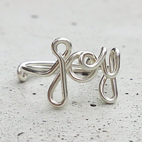 JOY - Beam with joy. Wire word ring. Available in 14K Gold-filled wire and 925 Sterling Silver.