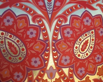 Fantastic Foil Wallpaper  Mid-Century Vibrant red/gold/orange/purple