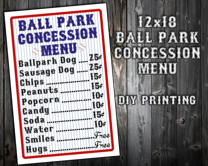 Instant Download Baseball Themed Birthday Party Menu