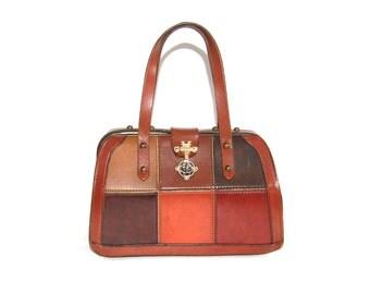 Patchwork Leather Frame Purse //  Vintage Brown Leather Handbag // 1960's Burlington Purse