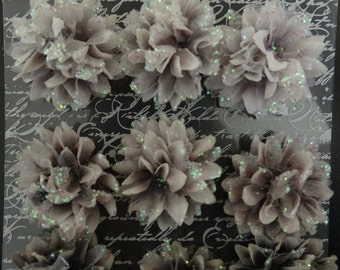 Prima Flowers - Gillian - Handmade Paper and Fabric Flowers - Grey with Glitter
