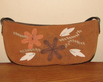 PATCHWORK SUEDE PURSE // 90's Brown Suede Leather Floral Flower Leaf Fall Baguette