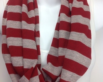 Red and gray striped sweater knit Valentine's Day infinity scarf