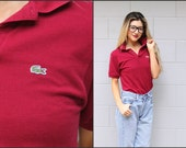 Vtg Vintage 80s Lacoste Preppy Polo shirt Top w/ Collar XS S M Maroon