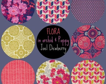 Joel Dewberry Fabric - 8 Fat Quarter Bundle FLORA in Orchid & Poppy