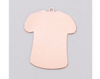 Pack of 6 larger TEE SHIRTS Copper 24ga 32.5x27mm with ring