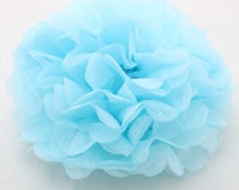 "14"" Light Blue Tissue Paper Pom- Large Paper Flower Poms-Wedding Decoartion- Baby Boy Shower-Bridal Decor- Hanging Room Pom-Birthday Party"