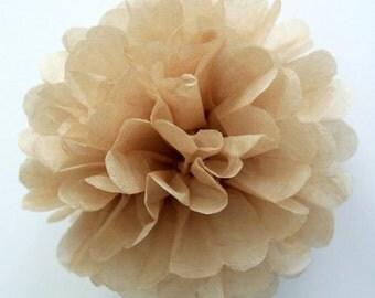 "10"" Light Brown/Tan Tissue Paper Pom Poms- Medium Paper Flower Pom- Wedding Decoartion- Baby Shower- Bridal Decor-Hanging Paper Pom-Birthday"