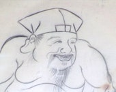 Sumi-e Drawing  Nineteenth Century Asian Ink  Art.......A Study in Black and White....Sumo Wrestler Sumi-e