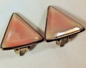 Earrings Vintage SP Triangle Pink Cameo Shell Material Strombus Giga Beautiful Luminescent  Pink Satin Look Beveled Minimalist Chic