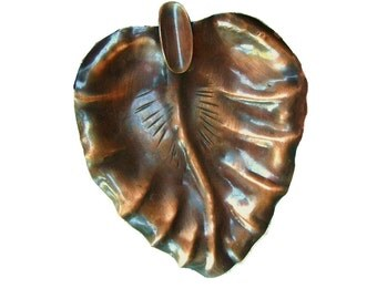 Vintage 1910 Signed Antique Arts and Crafts Craftsman Co Hand Made Copper Leaf Shaped Ashtray Jewelry Dish