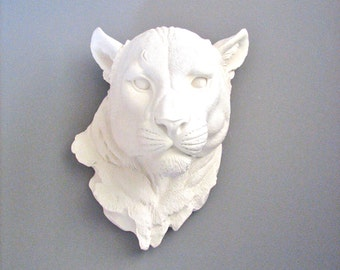 Faux Taxidermy Panther Head Wall Mount Wall Hanging Decor Home Decor: Pimmy the Panther in white
