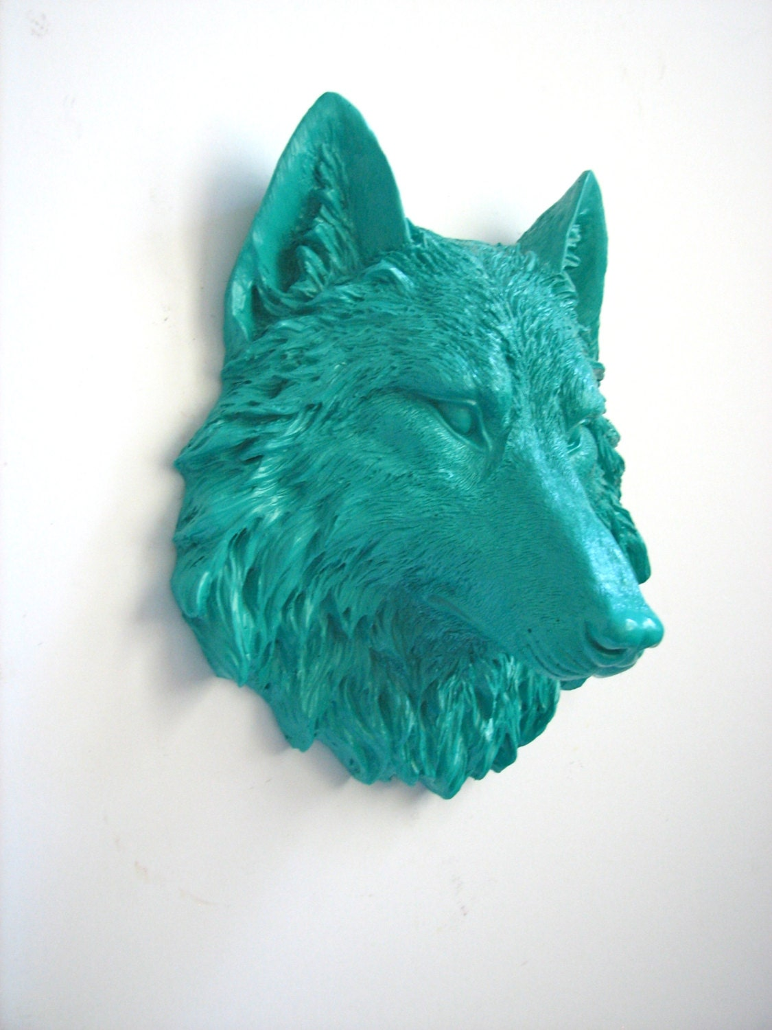 Teal Small Faux Taxidermy Wolf Animal Head Wall By