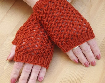 Fingerless Mittens in Terracotta, Net Handknitted Mittens, Short Mittens, Accessories for Girls and Women, UK Seller