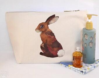 Rabbit Canvas Wash Bag, Large Zipper Pouch, Makeup Bag, Toiletry Bag, Accessory Bag