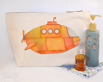 Yellow Submarine Canvas Wash Bag, Large Zipper Pouch, Makeup Bag, Toiletry Bag, Accessory Bag