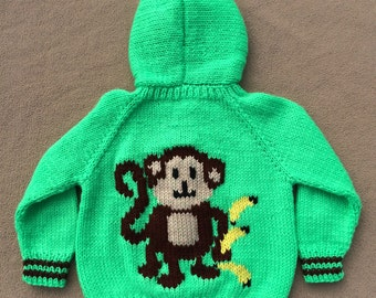Hand knit child's hooded monkey sweater