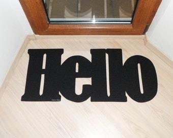 Hello door mat. Welcome mat. Home decor. Customizable