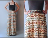 Long Woven Cotton Tapestry Maxi Skirt Graphic Southwestern Kilim Textile
