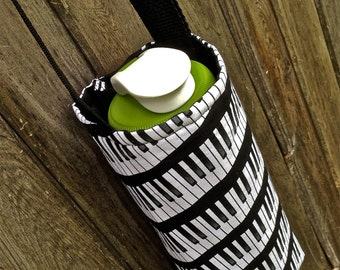 Water Bottle Carrier/Sling (Adjustable Strap - Insulated) Black & White Piano Keys fabric