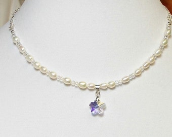 White Freshwater Pearls With Swarovski Crystal Flower Wedding Party Choker Necklace