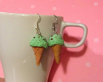 Mint Chocolate Chip Ice Cream Earrings, Miniature Food Jewelry