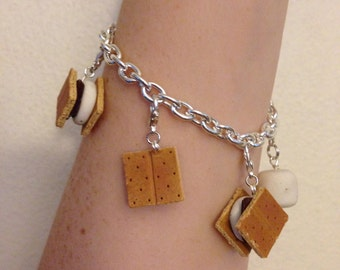 S'mores charms Bracelet, Miniature Food Jewelry