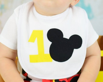 Mickey Mouse Birthday Bib - Cake Smash, Mickey Party, Photo Prop, Baby First Birthday