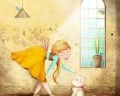 Print of Original Illustration, Kitten Girl Spring, Fine Art Print by Barbara Szepesi Szucs