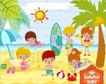Summer Beach Set 3 ---- Tan Children Playing in Summer Beach. Personal and Small Commercial Use ---- BB 0511