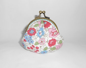 Pink red blue white floral clam shape coin  /change pouch/purse/wallet w bubble metal frame
