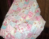 Shabby Chic Reversible Rag Quilt- Large Throw Tanya Whelan Sunshine Roses- Ready to Ship