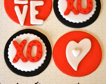 ROMANTIC HUGS and KISSES -  Fondant Cupcake, and Cookie Toppers - 1 Dozen