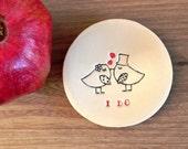 Wedding Ring Holder Bird Plate I DO  Ceramic Ring Dish Ivory Ring Pillow Custom Ring Bearer Bowl Eco Friendly Pottery