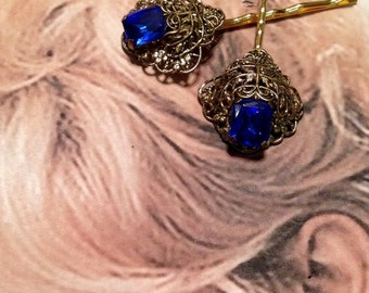 Decorative Hair Jewelry 40's Cobalt Blue Filigree Hairpins Bobby Pins