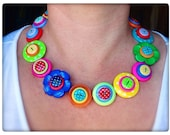 Polka dot, rainbow, button necklace