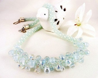 Aqua Necklace, Teardrop Necklace, Kumihimo Necklace, Blue Necklace, Ice Blue Necklace, Light Blue Necklace, Handmade Necklace, JewelryByPJ