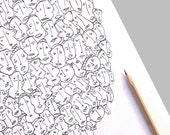 """Original Illustration ,  Crazy Art ,  Black and White, """"Social Network""""  by 99heads"""