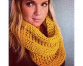 MADE TO ORDER Hand Knitted Chunky Knit Infinity Scarf with Beautiful Pattern