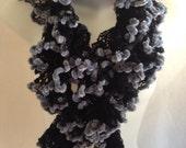 Ruffle Fashion Scarf Black Gray Soft Edge Crochet