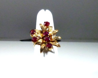Ladies, Vintage, Estate, 14kt, Yellow, Gold, Flower, Red, Ruby, Ring