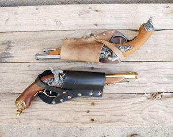 Flintlock Holster for Belt Pirate Gun  Leather Holster