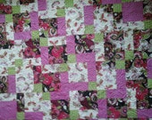 Baby  quilt Hot Pink and lime green