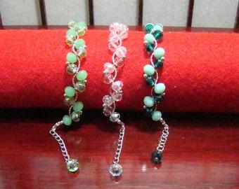 Set of 3, Small Silver Tube Beads, Bracelet Crystal and Glass Beads Bracelet, Women's Bracelet, Beaded Bracelet, Beadwork Bracelet
