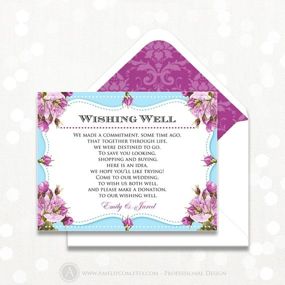 printable wishing well card wedding information card direction