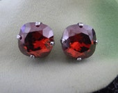 Swarovski Crystal Red Magma Cushion Cut Stud Earrings (10mm)