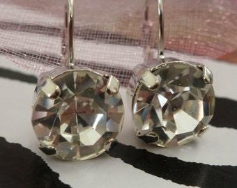 Large Swarovski Crystal Drop Earrings - Clear Crystal