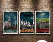 Harry Potter Fan Trio Travel Poster Vintage Movie Poster Print Wall Illustration Art Christmas House Warming Gift Children Room decor Geek