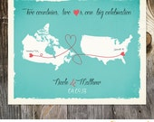USA Canada Custom Wedding Print Destination Wedding Gift  Memento Marriage Couple print alternative Signature Guest Books Signature Map